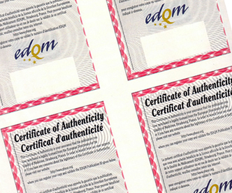 Certificate of Authenticity with barcode