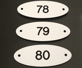 Numbered Door Plaques with Screw Holes
