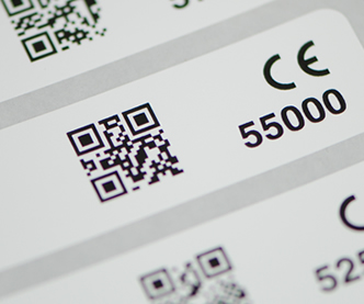 QR code label with CE mark and number