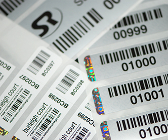 Photo of Barcode labels with a hologram