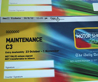 Motor Show Ticket showing numbering
