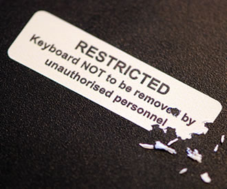 Photo of security frangible label