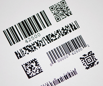 Label with many types of barcodes printed