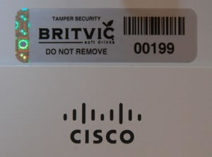 Photo of Britvic asset register sticker